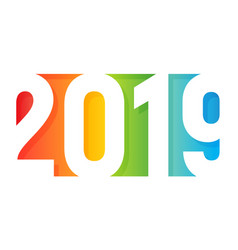 2019 happy new year logo paper application design vector image