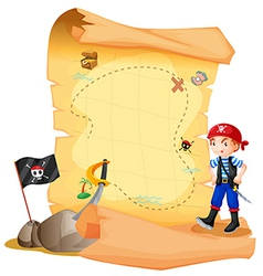 A treasure map with a young pirate vector image