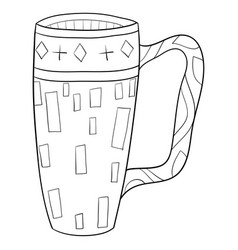 Adult coloring bookpage a cute cup with ornaments vector