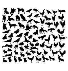 Animal set silhouettes vector