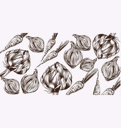 artichoke and onions line art veggies pattern vector image