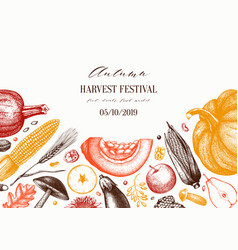 autumn harvest festival design traditional vector image