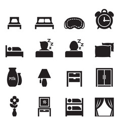 bedroom accessories icons set vector image