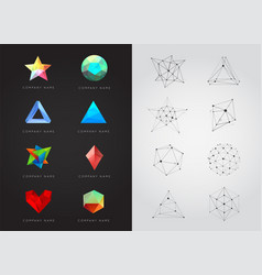 Big set of geometric shapes unusual and abstract vector