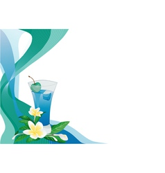 Blue drink card with plumeria vector