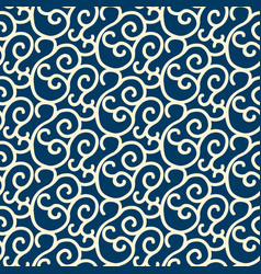 Blue seamless pattern with white swirl branches vector