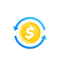cash back money refund exchange icon vector image