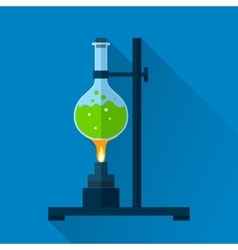 Chemistry tube on lab burner vector image