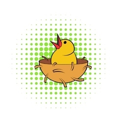 Chick in nest icon comics style vector image