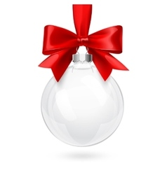 Christmas Glass Ball with Red Bow vector