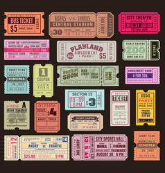 cinema or theater ticket set vintage invite vector image