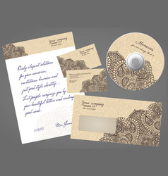 Corporate identity gorgeous coffee lace set vector