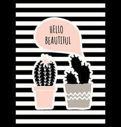 cute cacti poster design vector image