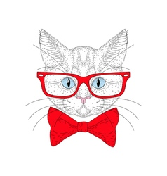 Cute cat portrait with hipster glasses Hand drawn vector
