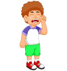 cute little boy cartoon crying vector image