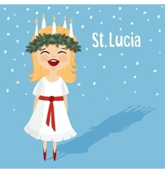 Cute little girl with wreath and candle crown vector
