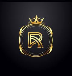 Elegant monogram letter r gold logo vector