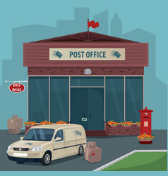 Exterior of post office and car of postal service vector