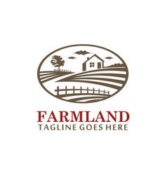 farmland vintage logo vector image