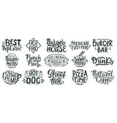 fast food lettering junk street food cafe vector image