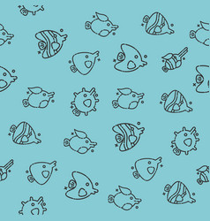 fish concept icons pattern vector image