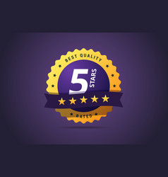 five stars rating round medal vector image