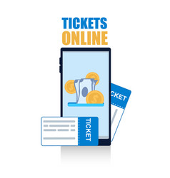 flat banner tickets online on white background vector image