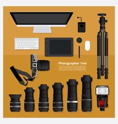 Flat Design Photographer Tool vector image vector image