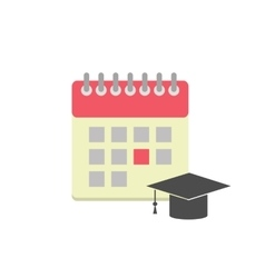 Flat style calendar icon with graduation hat vector image