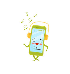 funny humanized smartphone walking and listening vector image
