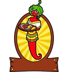 Girl Hot Pepper vector image