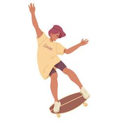 girl ride on skateboard summer leisure activity vector image