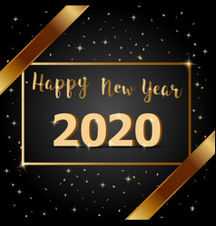 golden bow happy new year 2020 with dark vector image