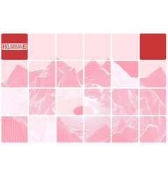 grid mountain landscape tiled pink abstraction vector image