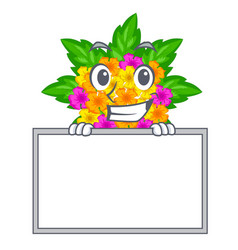 Grinning with board lantana flowers in the mascot vector