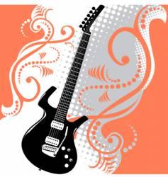 guitar floral background vector image