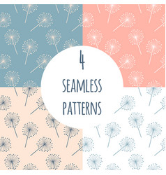 hand drawn dandelion seamless pattern set vector image