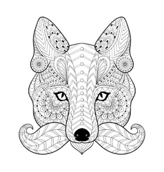 Hand drawn entangle tribal fox face for adult vector
