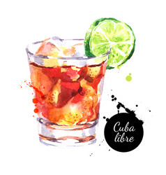 Hand drawn sketch watercolor cocktail cuba libre vector