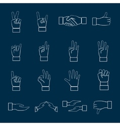 Hands Icons Set Outline vector