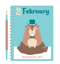 happy groundhog card background with marmot vector image