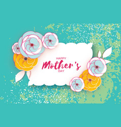 happy mother s day greeting card blue yellow vector image