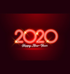 Happy new year 2020 red neon style background vector