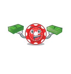 Happy rich gambling chips character with money on vector