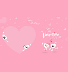 Happy valentines day cute cartoon on pink vector