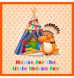 House tent for the little funny Indian fox vector