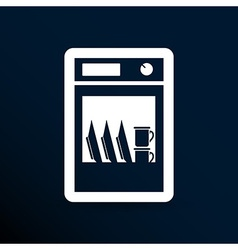 Icon dishwasher dishe washer kitchen clean vector