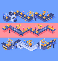 Isometric industrial factory automated line vector