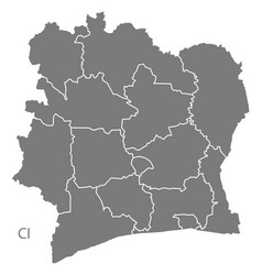 Ivory coast districts map grey vector