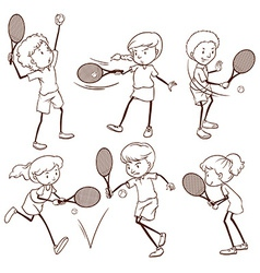 Kids playing tennis vector